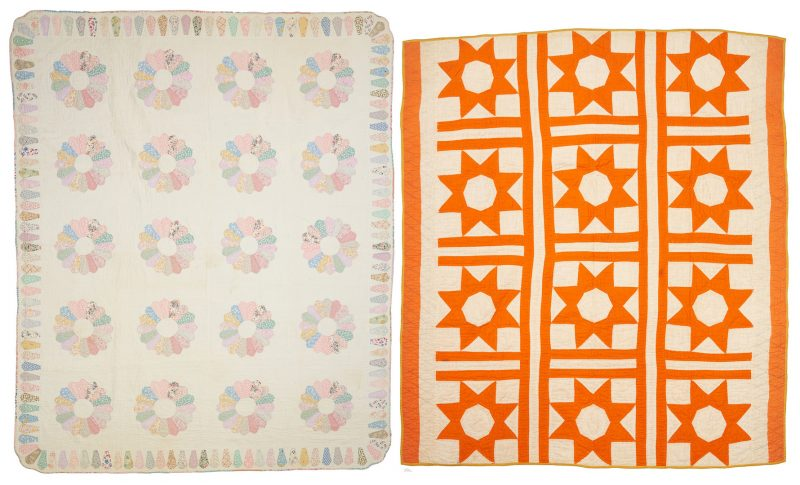 Lot 872: 2 American Quilts, LeMoyne Star & Dresden Plate Patterns