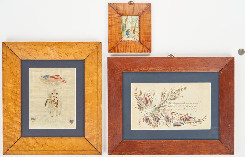 Lot 876: George Washington Embroidery, Penmanship Drawing, & Painting on Silk