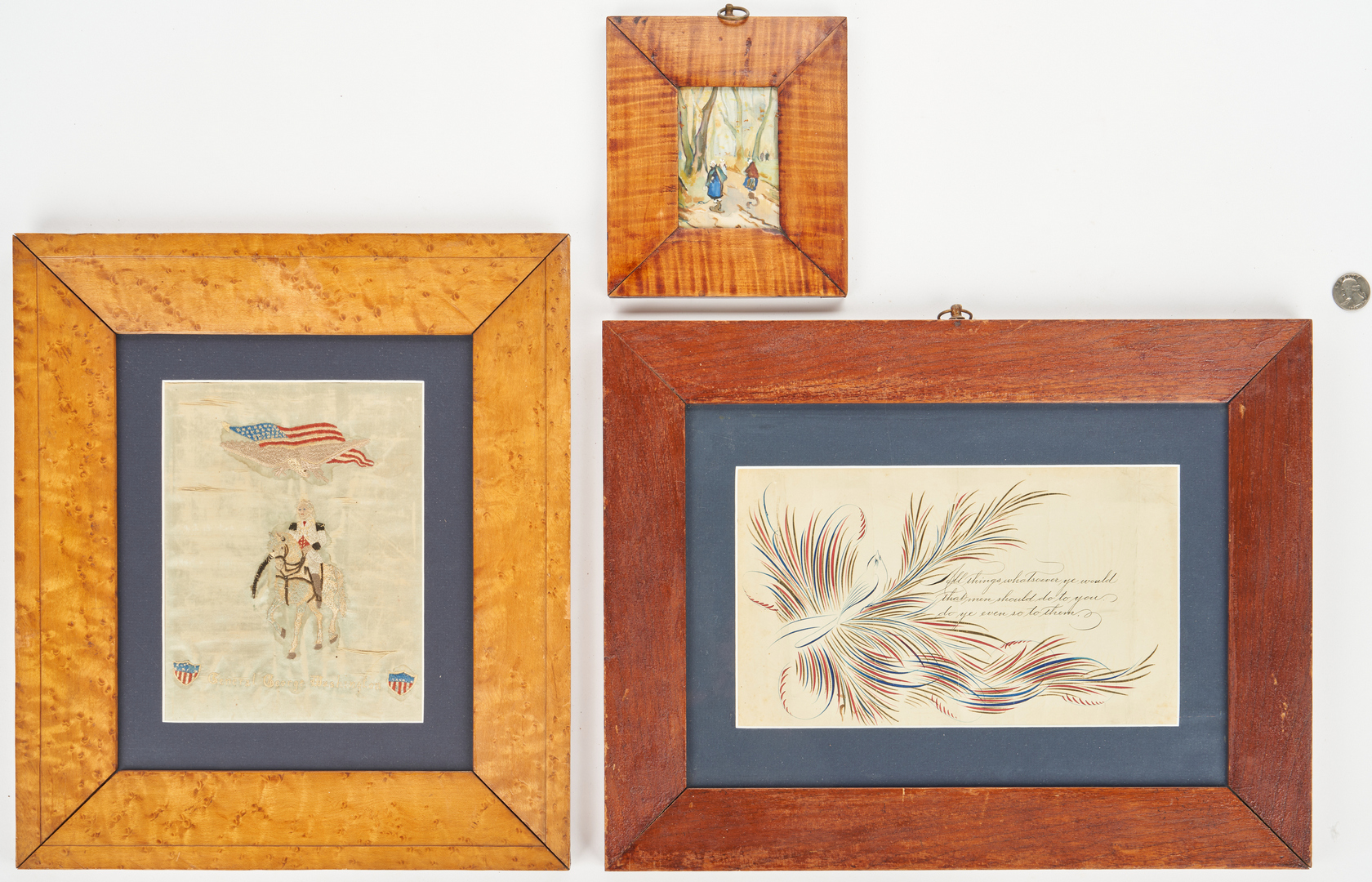 Lot 876: George Washington Embroidery, Penmanship Drawing, & Painting on Silk