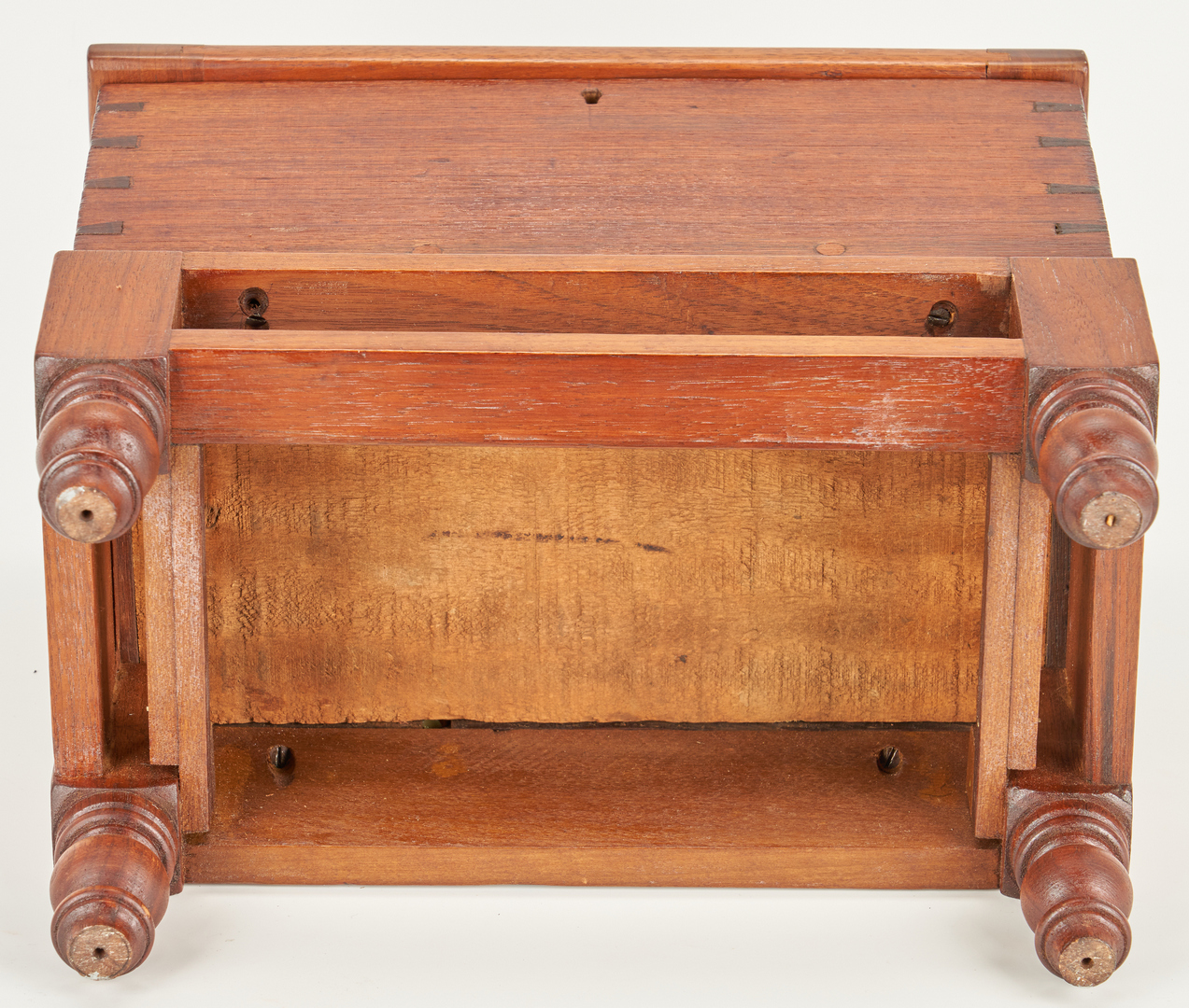 Lot 878: 3 Miniature wooden items incl. sugar chest and candlebox