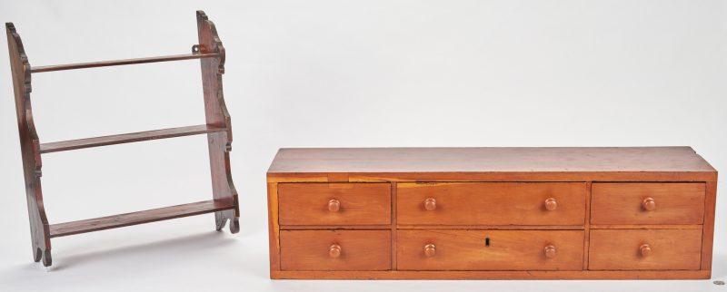 Lot 879: TN 6 Drawer Cabinet & Hanging Wall Shelf
