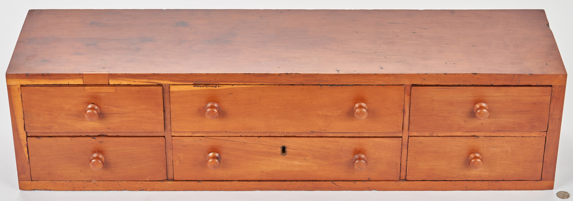 Lot 879: TN 6 Drawer Cabinet & Hanging Wall Shelf