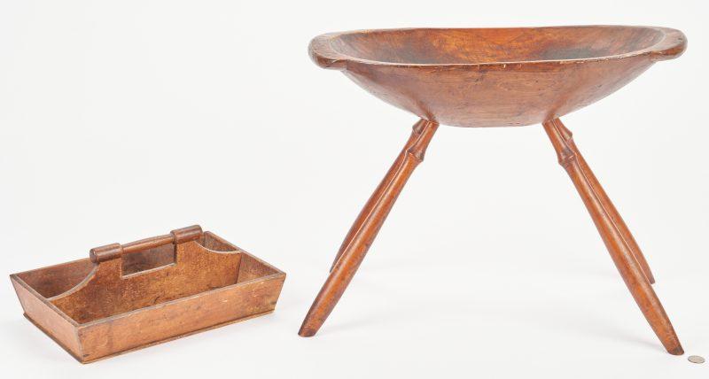 Lot 887: 19th Century American Dough Bowl & Cutlery Tray, 2 items