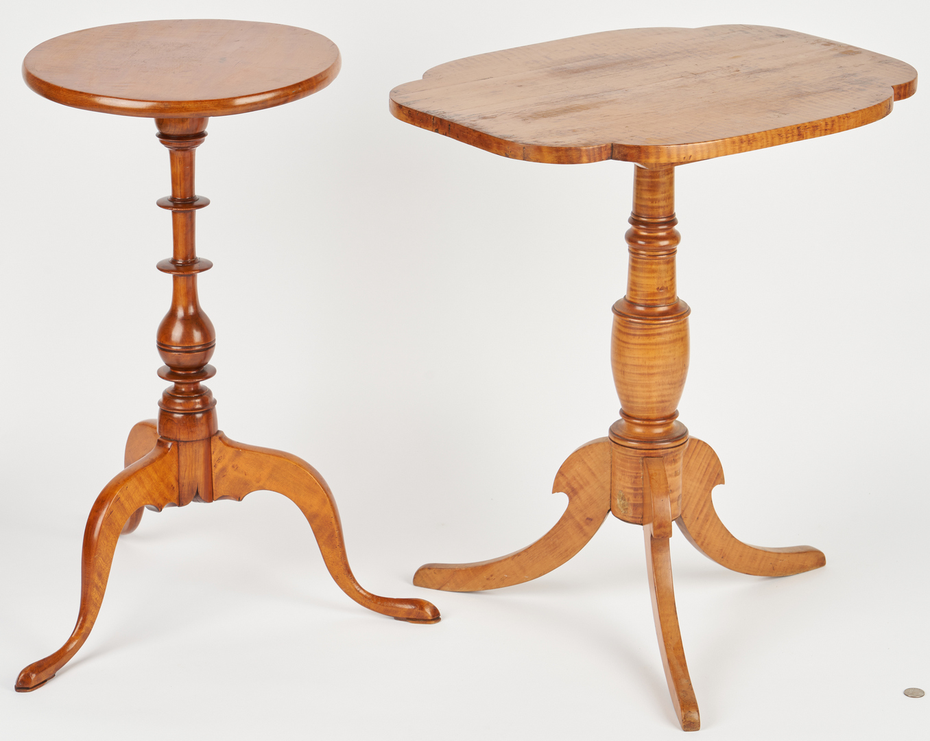 Lot 888: 2 Federal Tiger Maple Candlestands