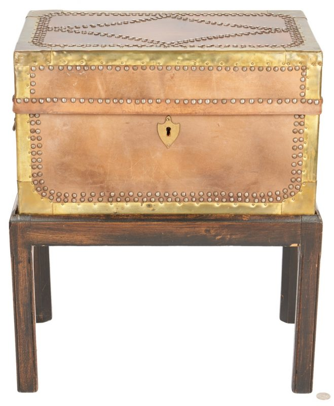 Lot 890: Brass Mounted Box on Custom Stand