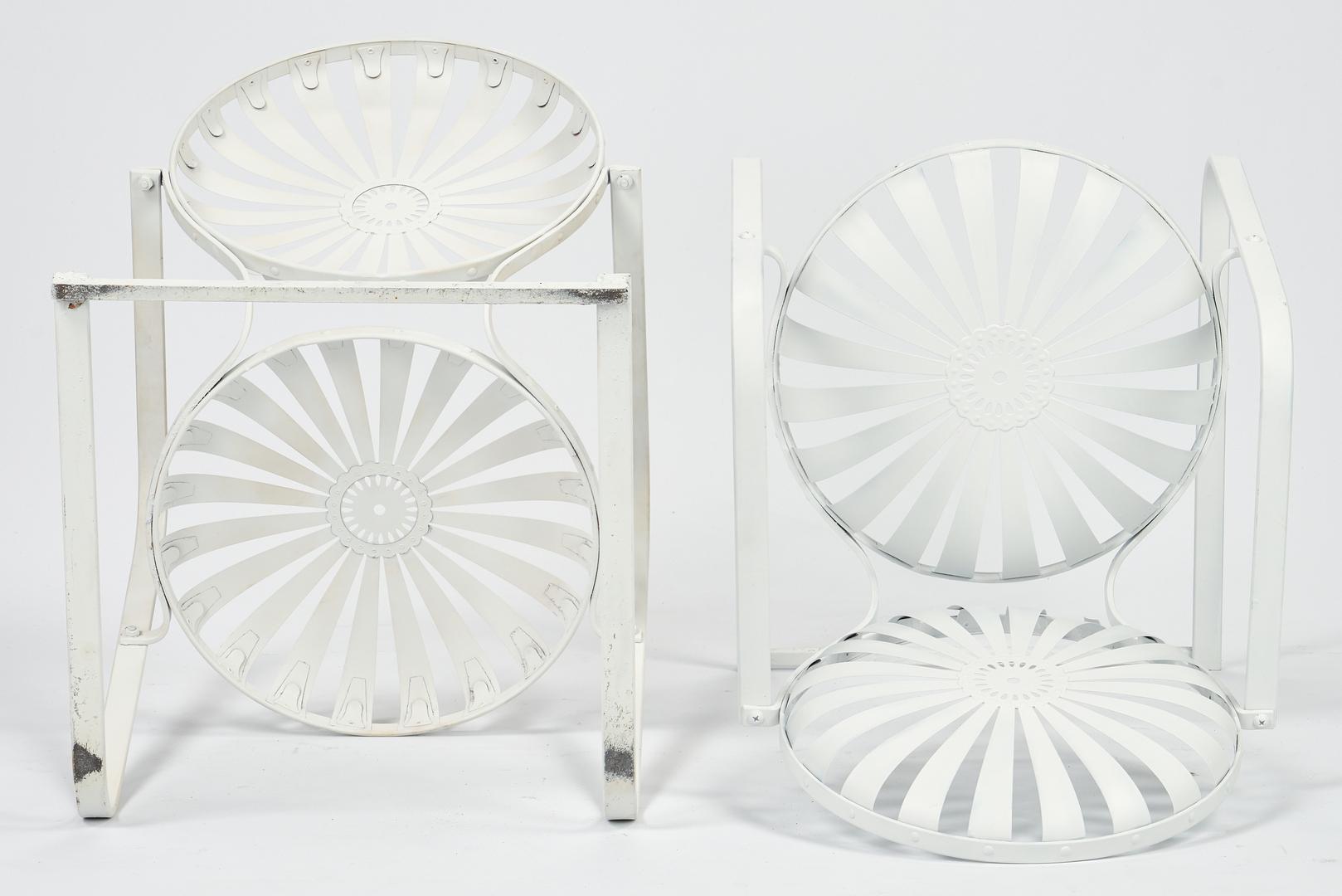 Lot 891: 4 Sunburst Patio Chairs, after Francois Carre
