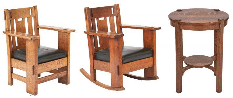 Lot 892: 3 Mission Oak Furniture Pcs., incl. Stickley and Brandt