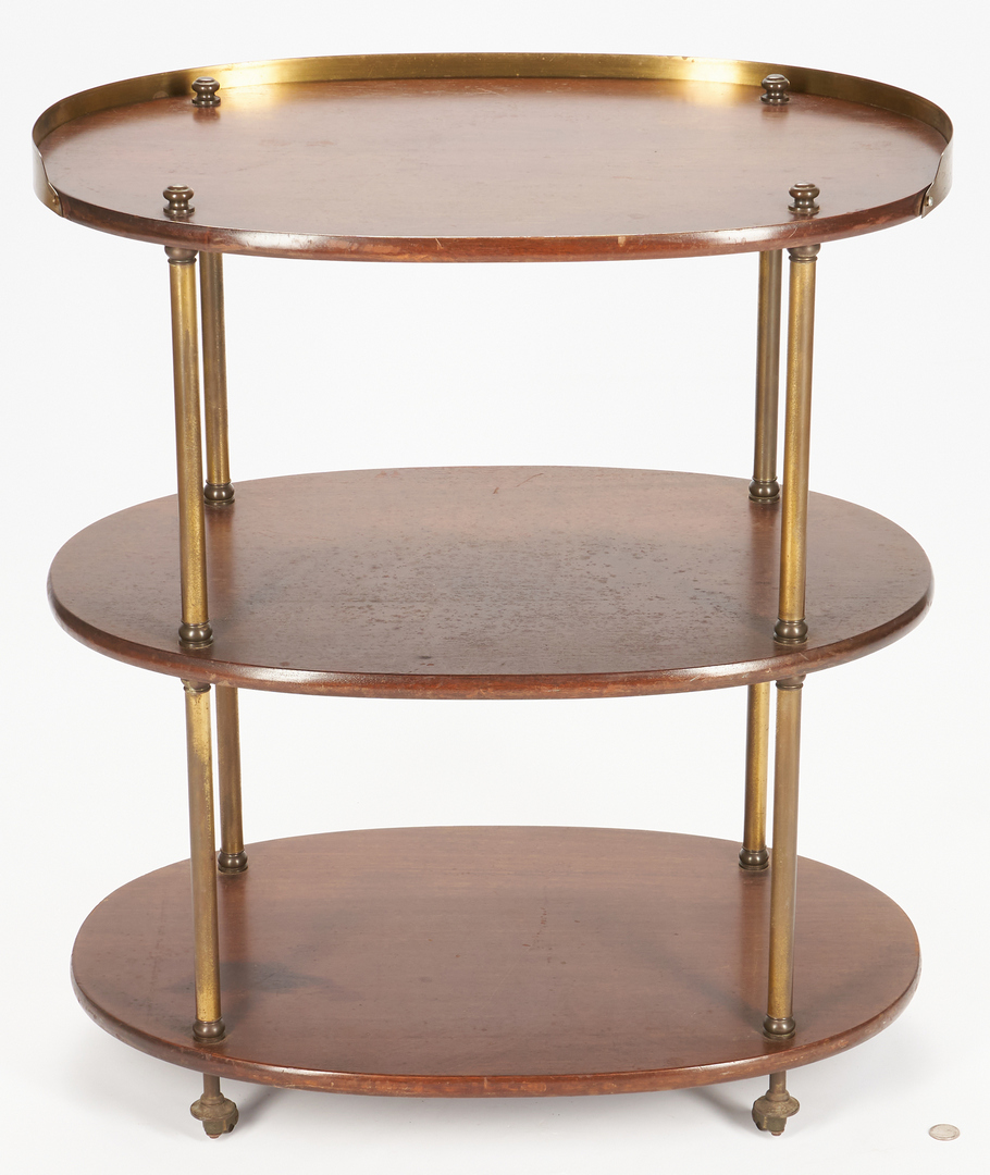 Lot 893: Three tiered wood and brass bar cart