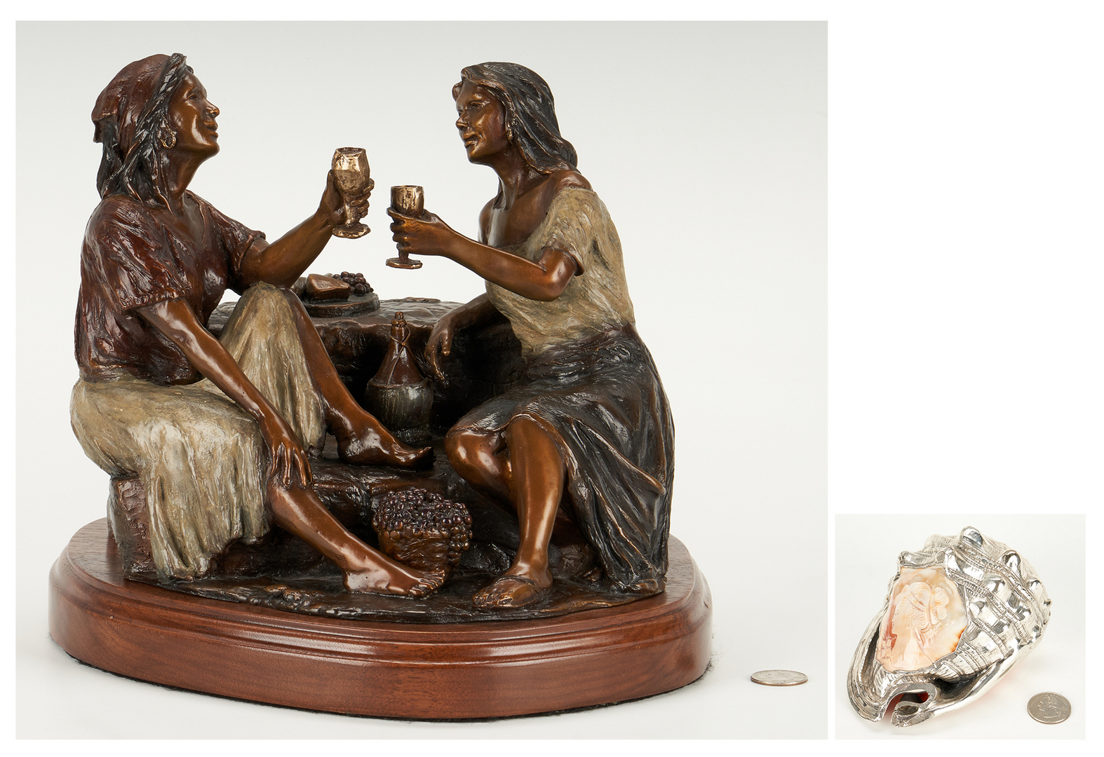 Lot 897: Caroselli Bronze Sculpture and Scognamiglio Cameo Shell