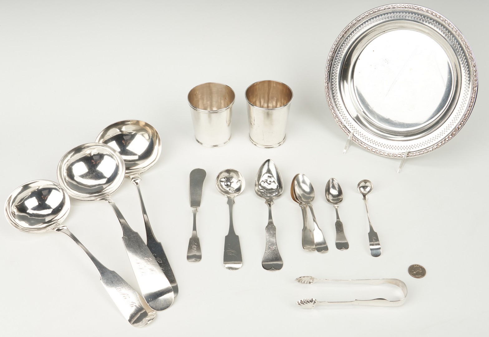 Lot 89: 15 pcs silver incl. KY and OH Julep Cups and Ladles