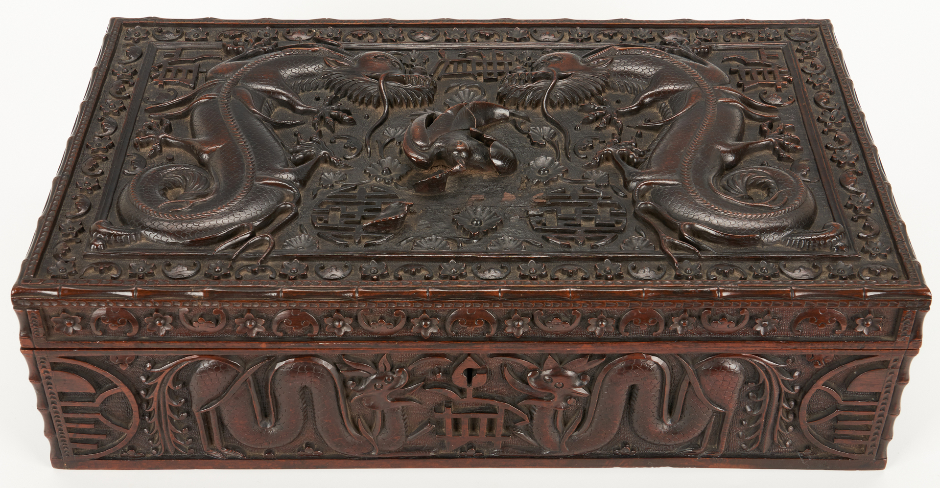 Lot 8: Chinese Carved Hardwood Dragon Box