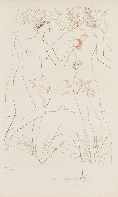 Lot 903: Salvador Dali Etching, Adam and Eve