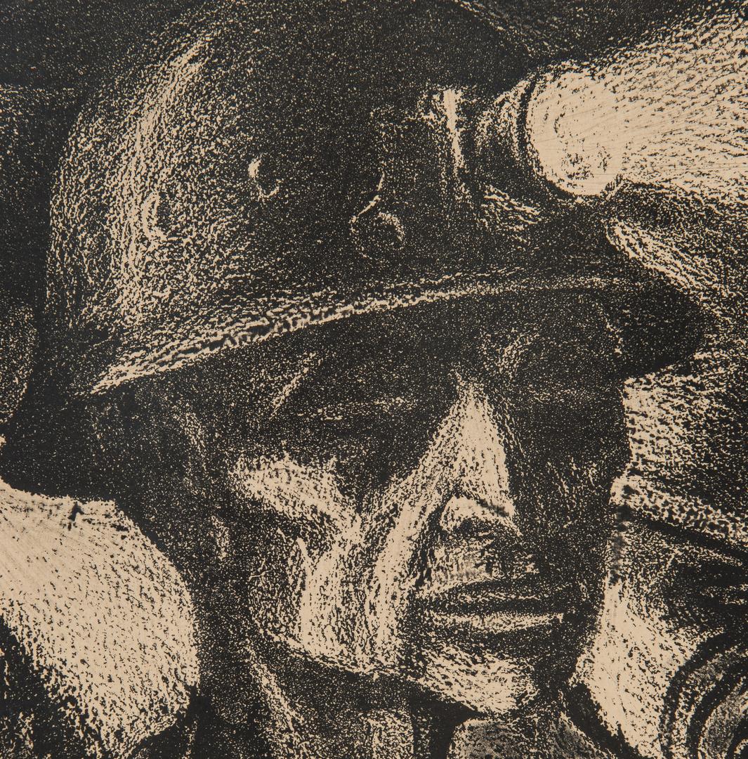 Lot 906: Harry Sternberg Crayon Aquatint, Coal Miner
