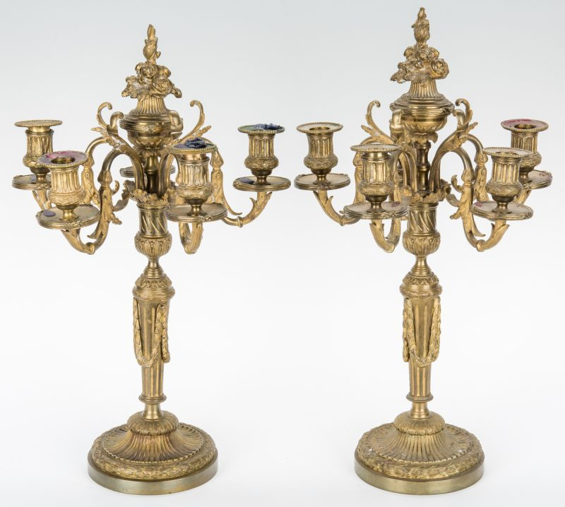 Lot 912: Pr. Neoclassical Style Gilt Bronze Candelabra