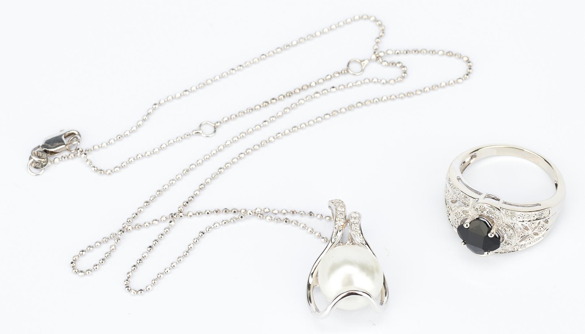Lot 915: 1 Ladies 14K Onyx and Diamond Ring & 1 Ladies 18K Necklace