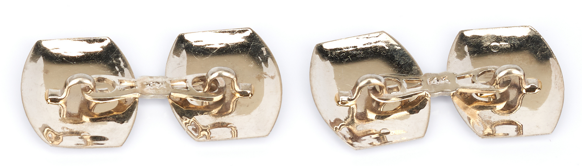 Lot 917: 3 Gold Cufflink Pairs, 10K and 14K