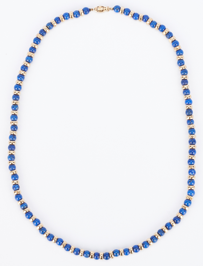 Lot 919: 14K Gold and Lapis Necklace