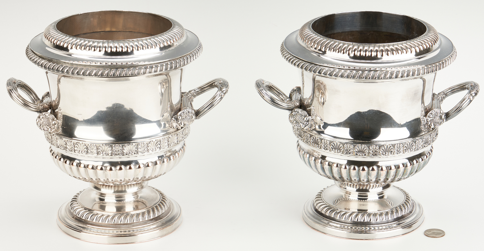 Lot 91: Pair Old Sheffield Wine Coolers