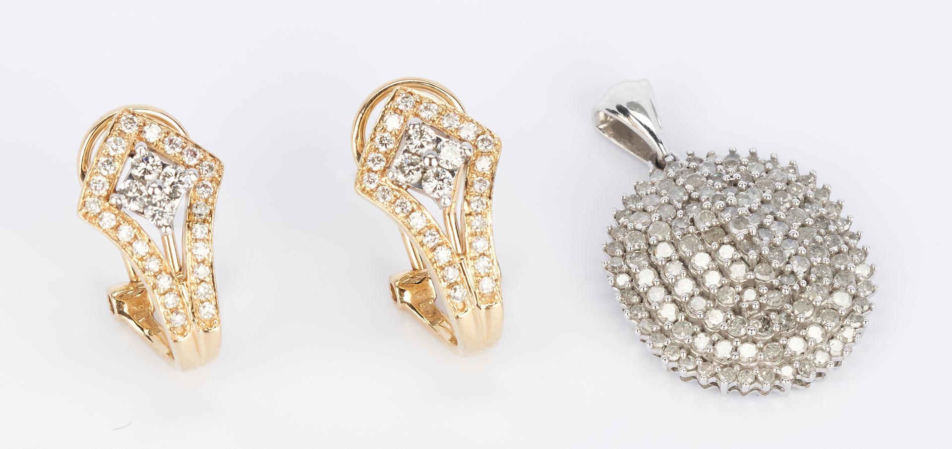 Lot 920: 14K Art Deco Style Diamond Earrings & Pave Diamond Pendant, 3 items