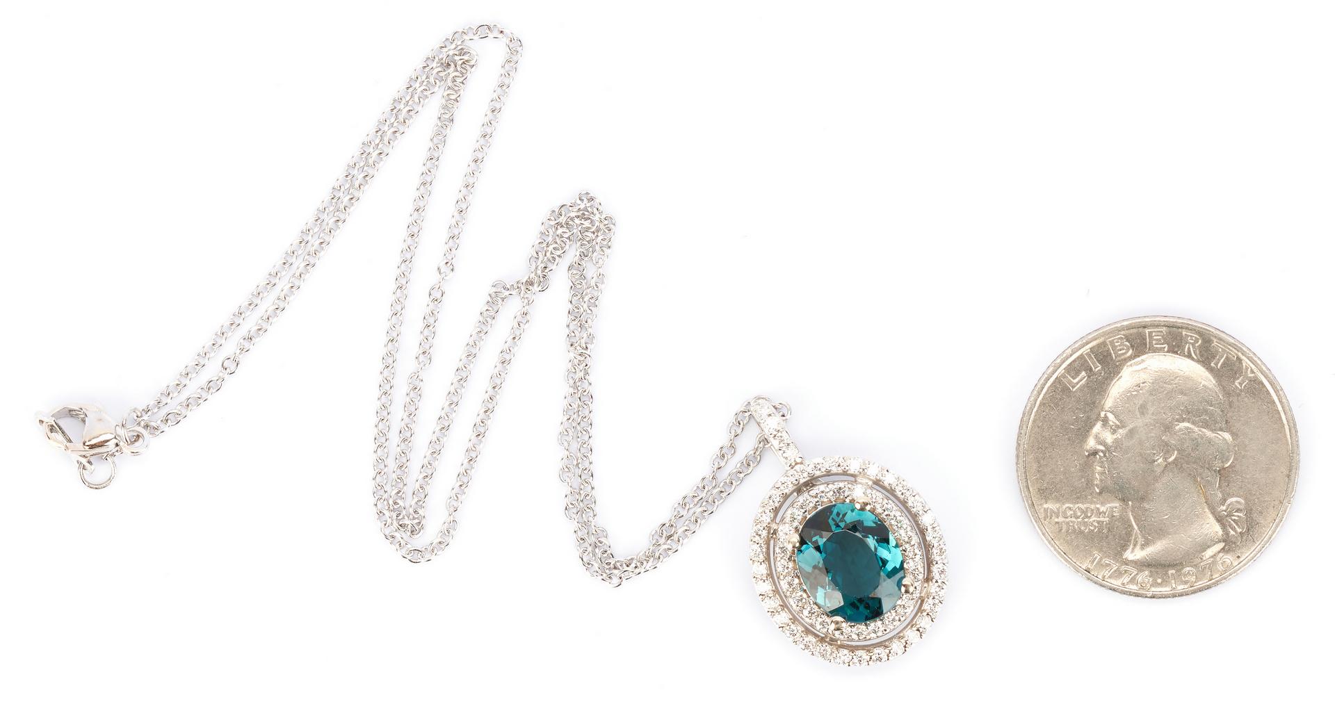 Lot 921: Ladies 18K Necklace & Topaz Pendant