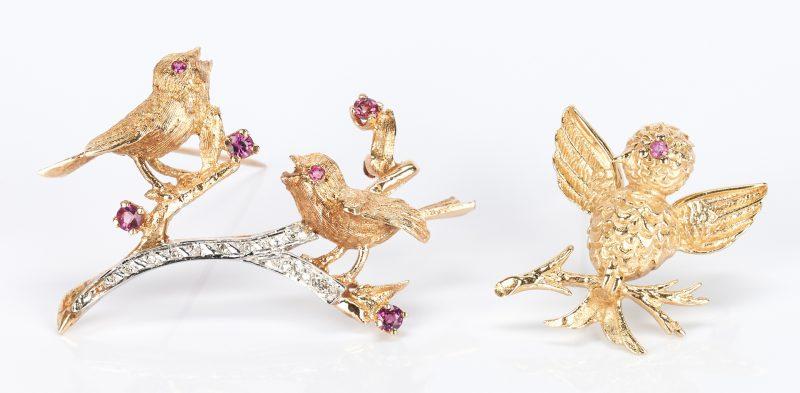 Lot 923: 2 Ladies 14K Ruby & Diamond Pins
