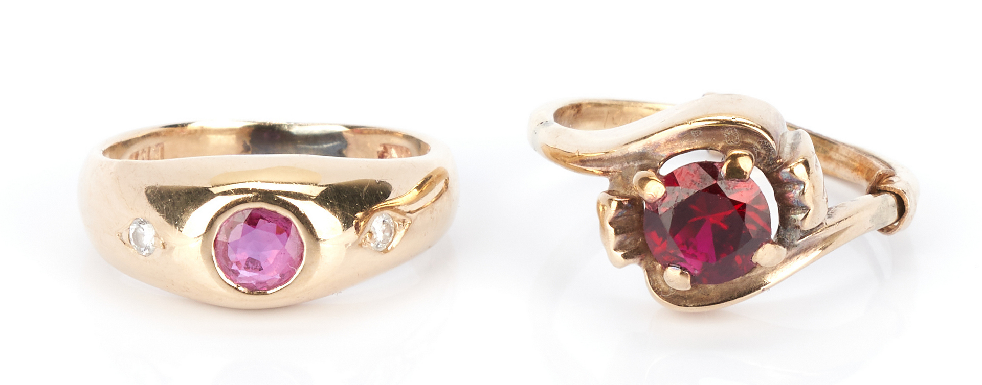 Lot 924: 5 Ladies 14K Ruby and Sapphire Rings