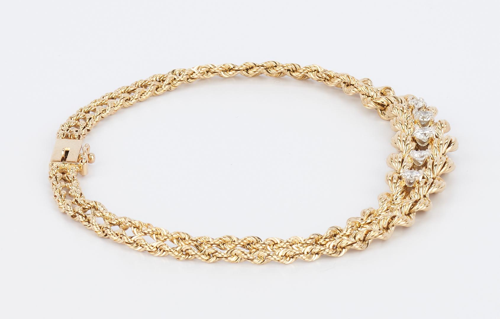 Lot 927: 14K Diamond Rope Bracelet