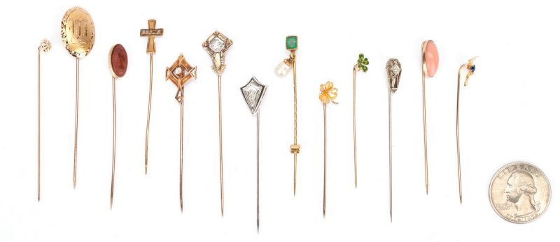Lot 928: 13 Ladies Gold Pins with Gemstones
