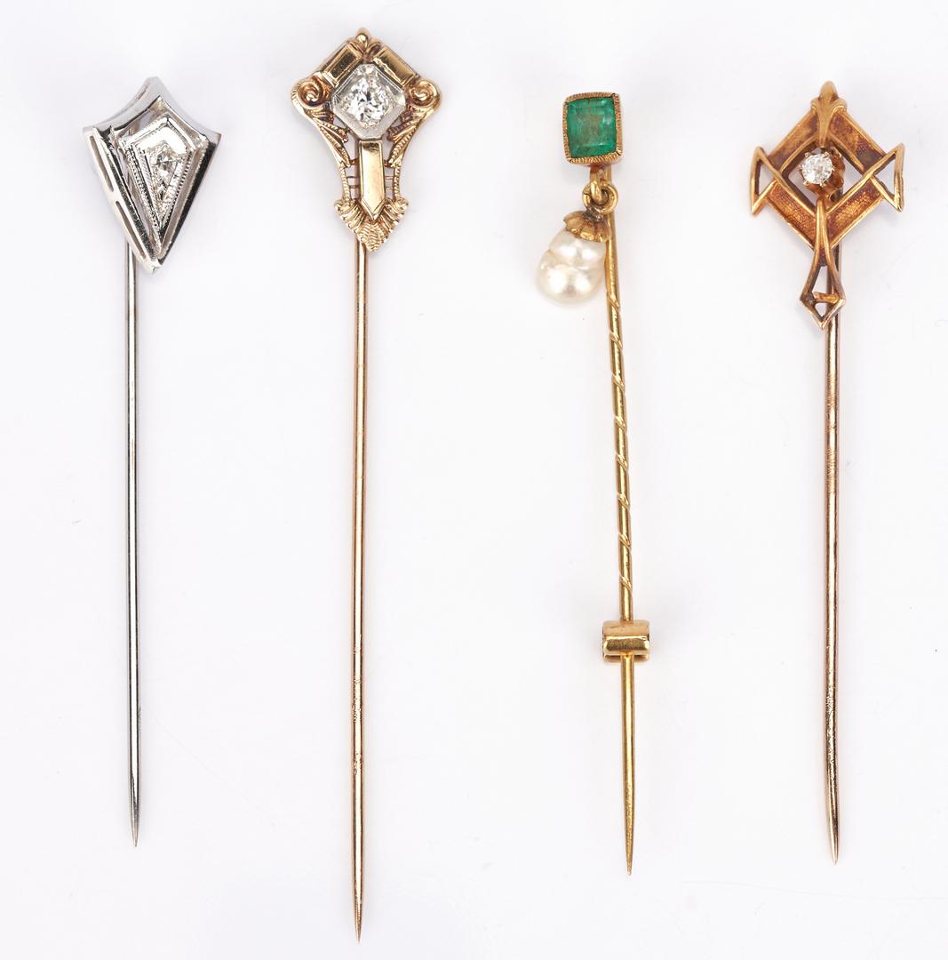 Lot 928: 13 Ladies Gold Pins with Gemstones