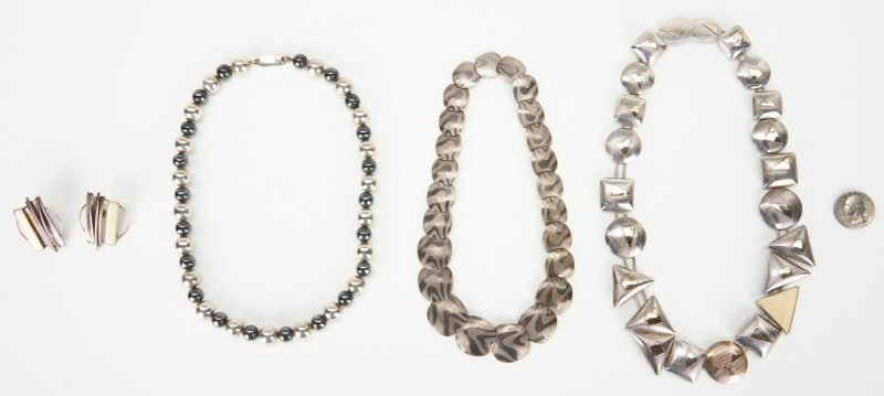 Lot 930: Handmade Sterling Necklaces and Earrings, incl. Barbara Terrell Pujol
