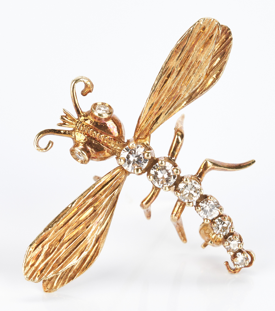 Lot 931: 2 Ladies 14K Diamond Pins Dragonfly & Ladybug