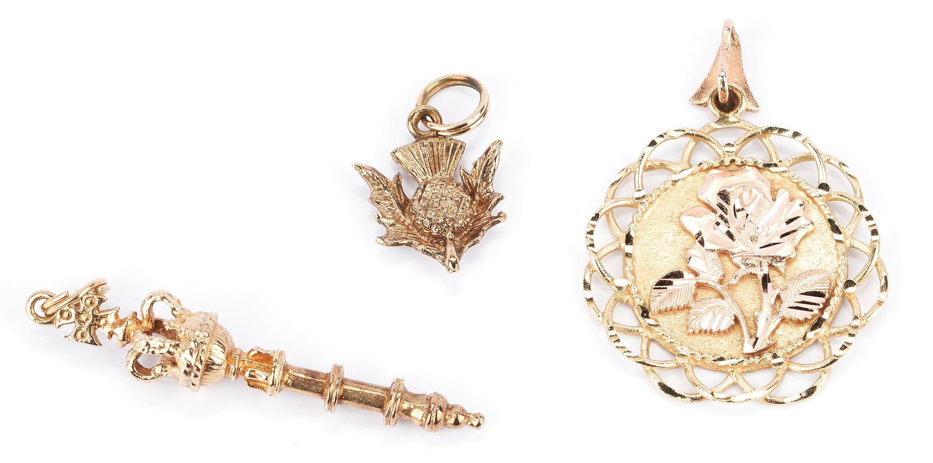 Lot 932: 3 Ladies Gold Pendants, Scepter, Rose & Thistle