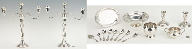 Lot 933: 16 items Sterling Silver, incl. Towle Candelabra