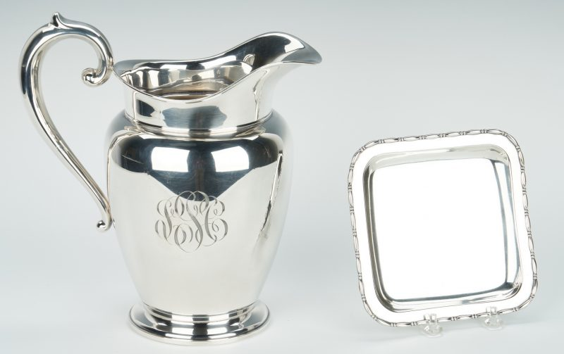 Lot 936: Sterling Water Pitcher plus small square dish