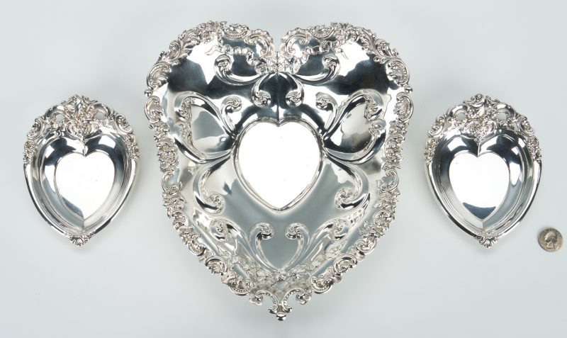 Lot 937: 3 Sterling Heart Shaped bowls incl. Gorham 1880