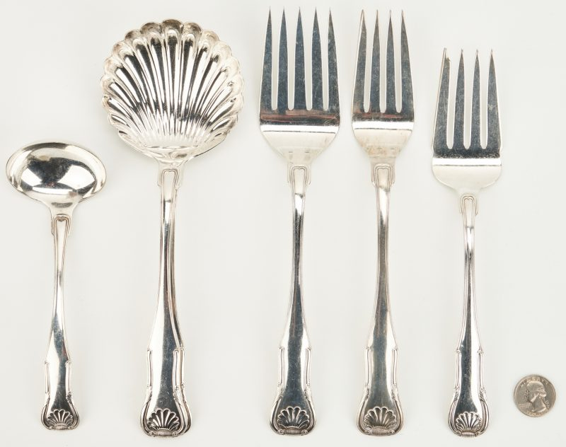 Lot 942: 6 pcs Kirk Sterling Serving Forks and Ladles