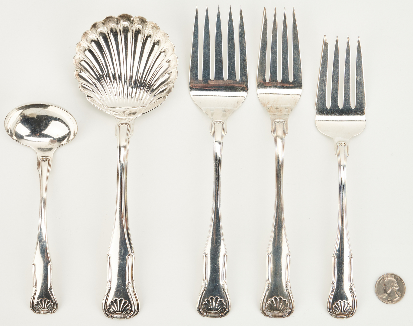 Lot 942: 6 pcs Kirk Sterling Serving Forks and Ladles