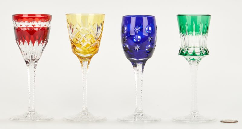 Lot 947: 4 Colored Crystal Goblets, incl. Faberge