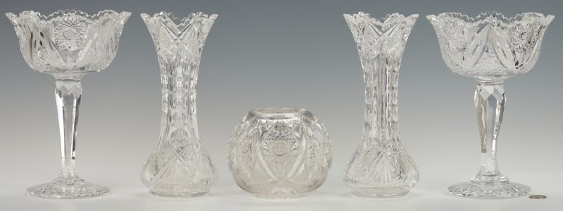 Lot 949: Pr. Cut Glass Comports, Vases and Rose Bowl
