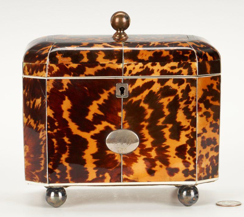 Lot 94: Regency Tortoiseshell Tea Caddy, Silver Inlay