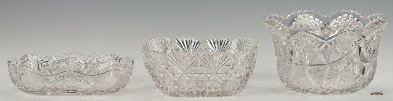 Lot 950: 3 Brilliant Cut Glass Bowls (ABPCG)