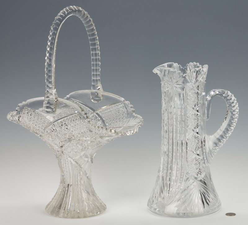 """Lot 951: Large Cut Glass Flower Basket, 20""""H, and Pitcher"""