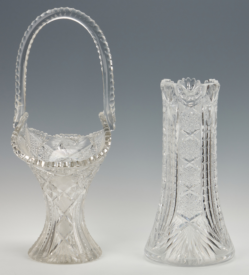 "Lot 951: Large Cut Glass Flower Basket, 20""H, and Pitcher"