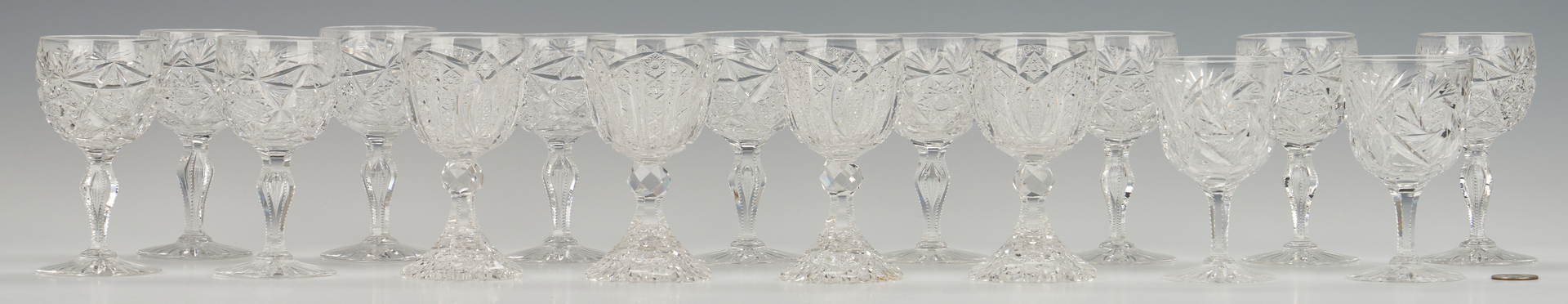 Lot 954: 16 ABPCG Goblets including signed Libbey
