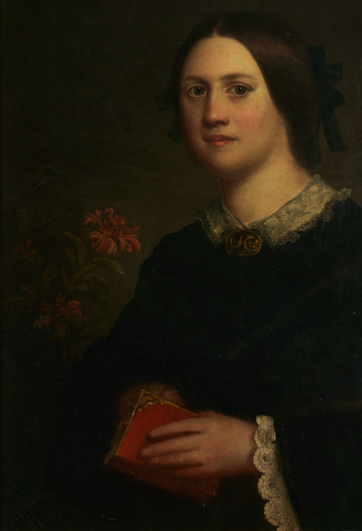Lot 957: American Portrait of Lady w/ Red Book