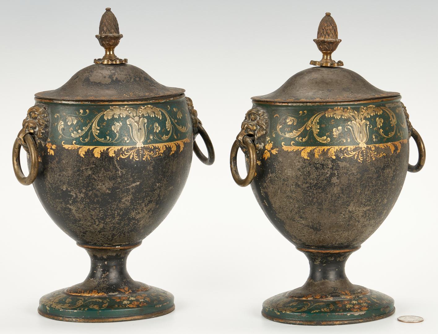 Lot 95: Pair Regency Tole Chestnut Urns