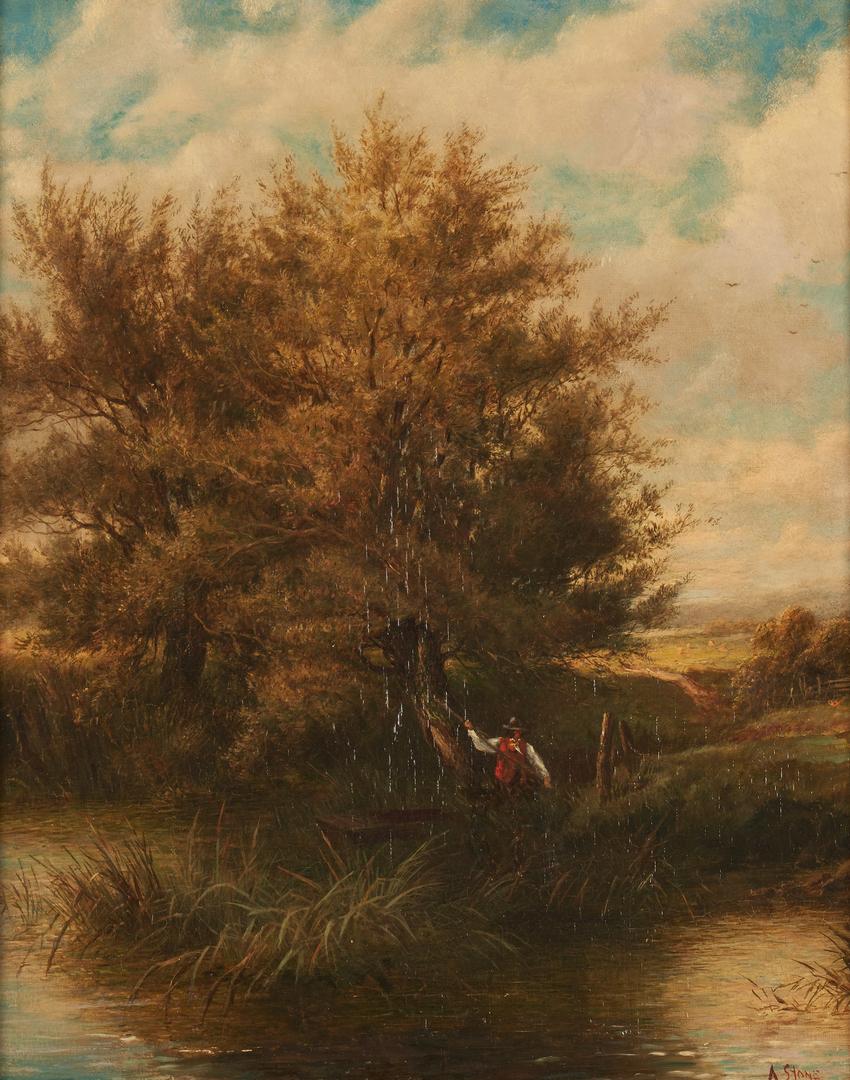 Lot 960: English O/C Landscape painting, North Devon