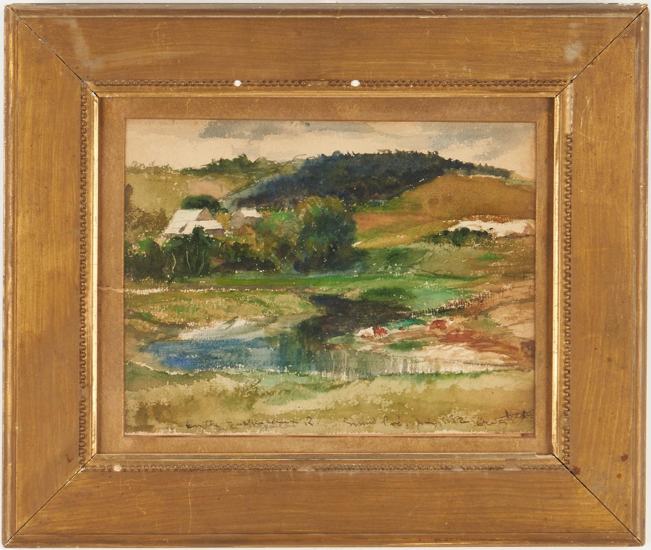 Lot 961: 19th C. watercolor, Canada Landscape