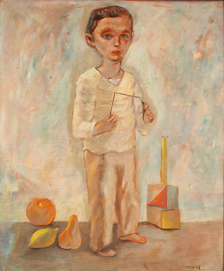 Lot 962: Signed European School Oil Painting of a Boy