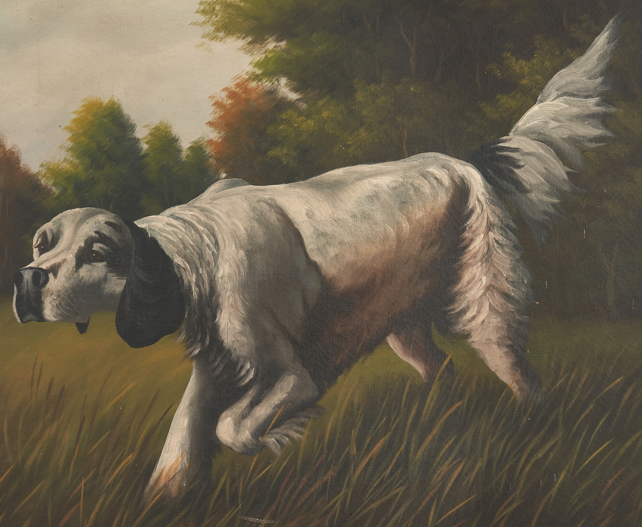 Lot 964: O/C of Hunting Dog, signed T. Bailey